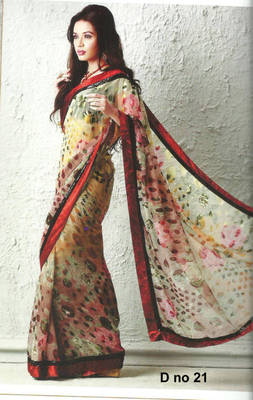 Aahana Georgette Brasso white colorfully printed Saree D no. 21