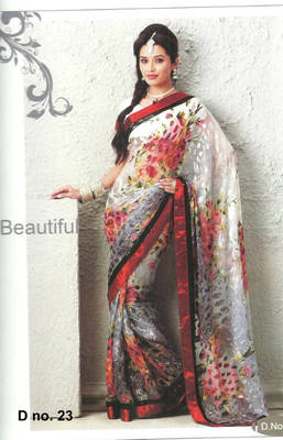 Aahana Georgette Brasso white colorfully printed Saree D no. 23