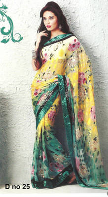 Aahana Georgette Brasso white colorfully printed Saree D no. 25