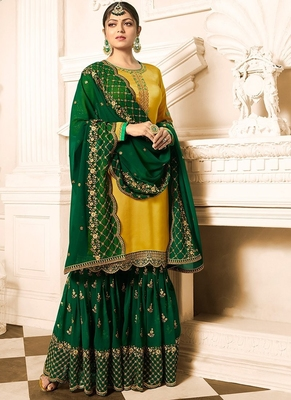 Yellow embroidered Satin & Georgette sharara suit