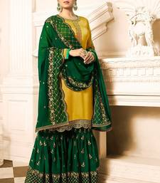 Buy Yellow embroidered Satin & Georgette sharara suit sharara online