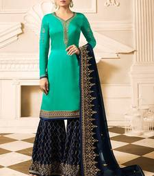Buy Turquoise embroidered Satin & Georgette Sharara Suit sharara online