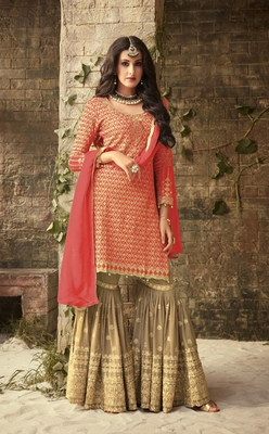 Coral embroidered georgette Sharara Suit