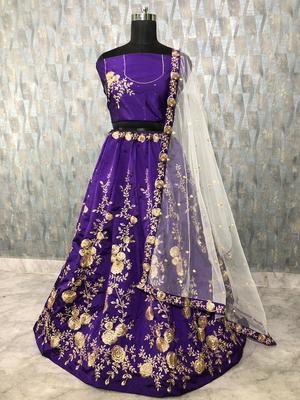 Purple embroidered  art silk semi stitched lehenga