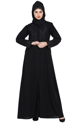 Gorgeous Black Front Open Embroidered Abaya With Black Stones