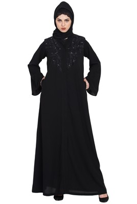 Black Simple yet Stylish Front OpenEmbroidered Abaya