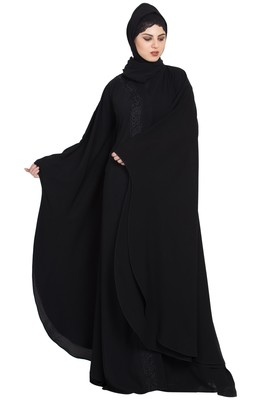 Black Gorgeous Front Open Kaftan with Embroidery