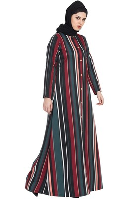 Multicolour Light Weight Front Open Abaya Dress