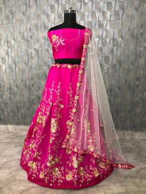Pink embroidered  art silk semi stitched lehenga