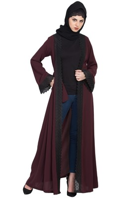 Wine Anida Elegant Shrug With Lacework for Any Abaya