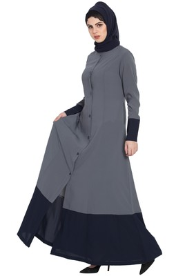 Grey Blue Dual Color Front Open Abaya