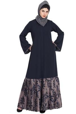 Black And Grey Printed Bottom Front Open Dress Abaya