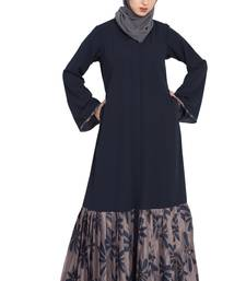 Black And Grey Printed Bottom Front Open Dress Abaya