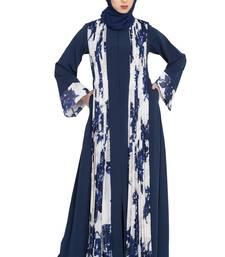 Blue Floral Print Front Open Designer Dress Abaya