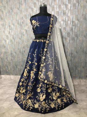 Dark-blue embroidered art silk semi stitched lehenga