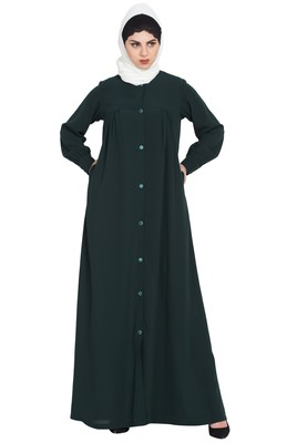 Bottle Green Front Open Abaya With Ruffles On Yoke And Cuffs