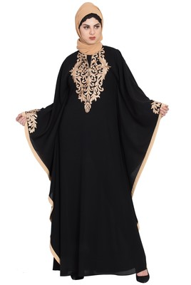 Black Nida Golden Embroidered Farasha Kaftan