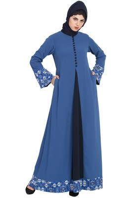 Blue Nidadress Abaya With Floral Borders