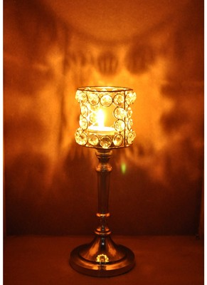 Lal Haveli Crystal candle Holder Table Top Decorations Item 10 X 4 inches
