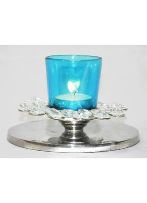 Puja Articles Crystal candle Holder 1.5 X 5.4 Inches
