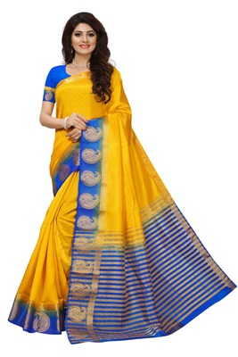 Yellow printed faux tussar silk saree with blouse