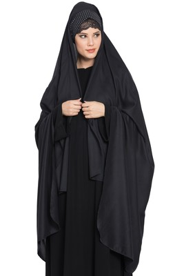 Black Rayon Irani Chador with Detatchable Nose Piece