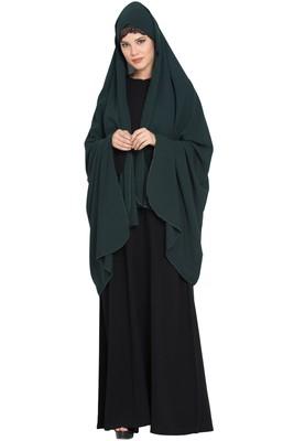 Dark Green Nida Irani Chador With Detatchable Nose Piece