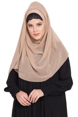 Beige Georgette Ready To Wear-Instant Hijabs
