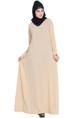 Fawn Nida Simple A Line Abaya with Side Pockets
