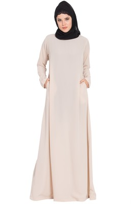 Light Beige Nida Simple A Line Abaya With Side Pockets