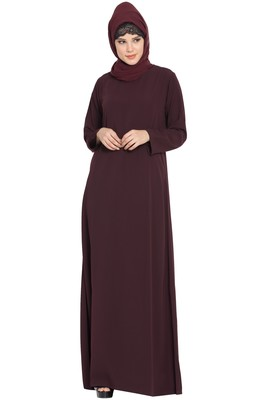 Wine Simple A Line Abaya with Side Pockets