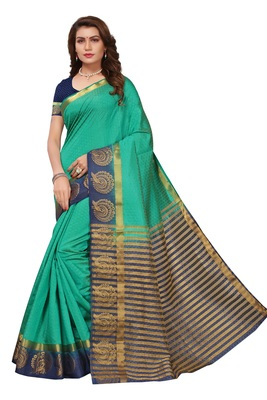 Green printed faux tussar silk saree with blouse