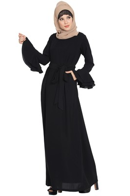 Black Nida Abaya Dress With Double Layers Of Bell Sleeves And Matching Belt