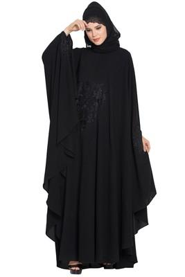 Black Nida Embroidered Irani kaftan Abaya