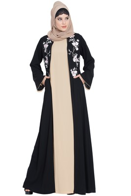 Black Nida Two Piece Abaya Set With Embroidered Cardigan