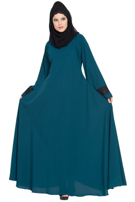 Teal Nida Umbrella Cut Abaya with Lace work on Sleeves
