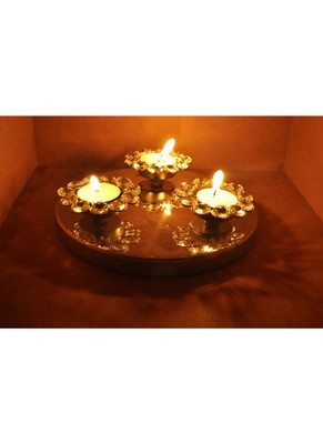 Three Flower Design Crystal Pooja Tray & Tealight candle Holder 2 X 8 Inches