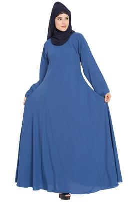 Blue Nida Umbrella Cut Abaya With Designer Sleeves