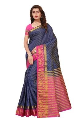 Dark blue printed faux tussar silk saree with blouse