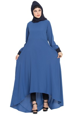 Blue Nida Dress Abaya With Asymmetrical Pattern