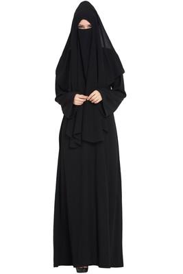 Black Georgette 3 Piece Burqa Set With Nose Piece And Nequab