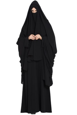 Black Georgette 4 Piece Burqa Set with nose piece and chador
