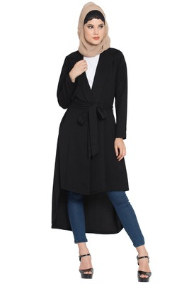 Olive Polyester Full Sleeves Long Jacket With Matching Fabric Belt