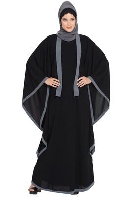 Black Nida Kaftan Abaya with Grey Borders