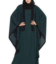 Green Nida Kaftan Abaya With Black Borders