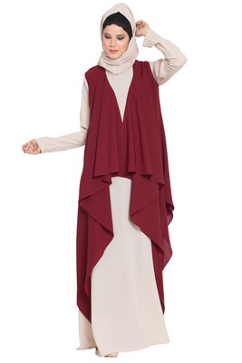 Light Beige And  Maroon Anam Two Pieces Set Abaya And Shrug Combo