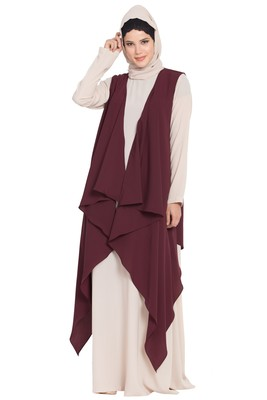 Light Beige And Wine Anam Two Pieces Set Abaya And Shrug Combo