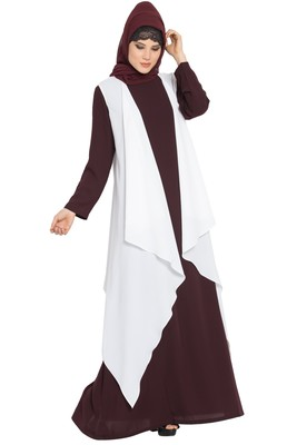 Wine And Off White Anam Two Pieces Set Abaya And Shrug Combo