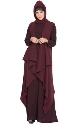 Wine Aida Sleeveless-Free Size Shrug For Any Abaya
