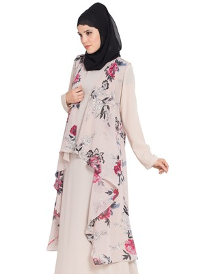 Beige Printed Sleeveless Free Size Shrug For Any Abaya